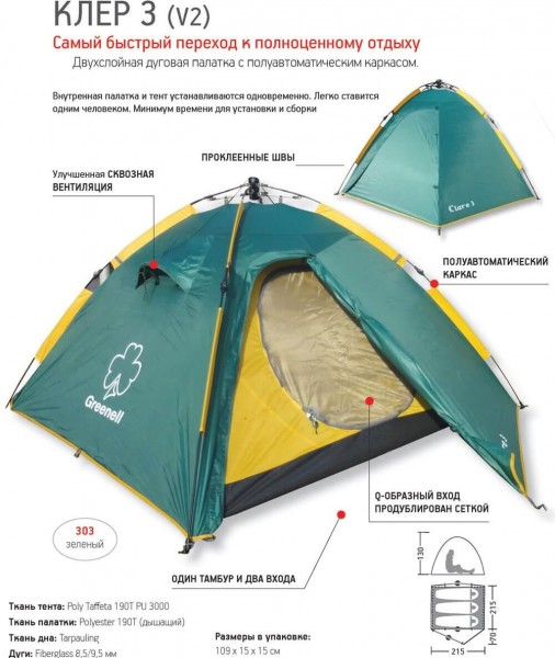 фото Палатка Greenell Клер 3 v2