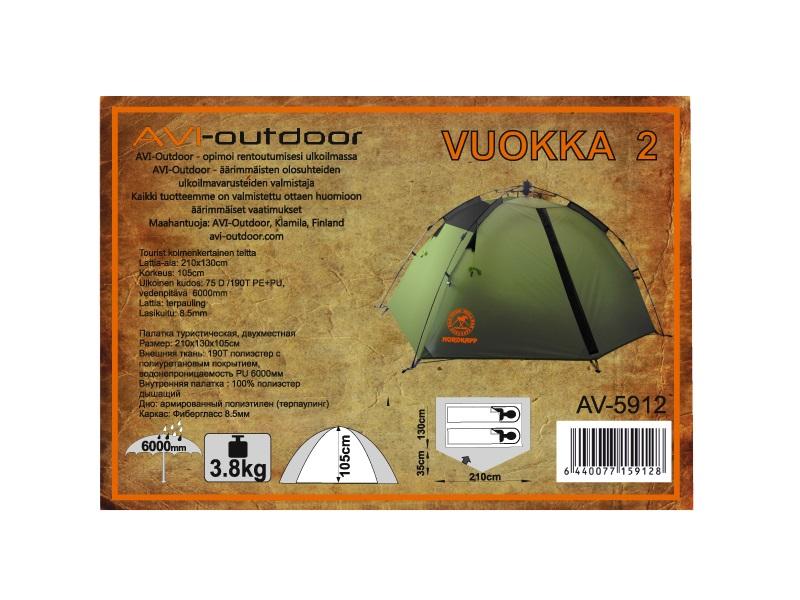 фото Палатка АВТОМАТ AVI-OUTDOOR Vuokka 2 серый