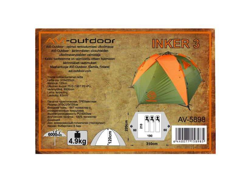 фото Палатка AVI-OUTDOOR Inker 3 Оранжевый