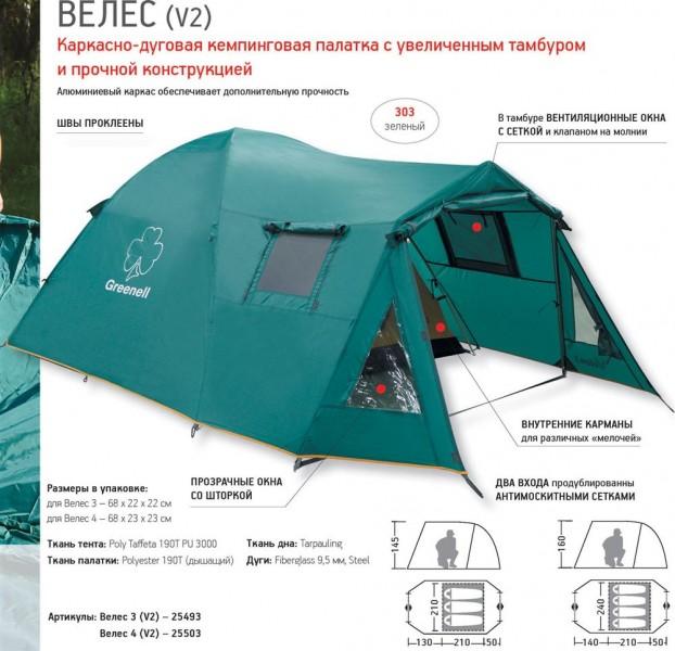 фото Палатка Greenell Велес 3 V2