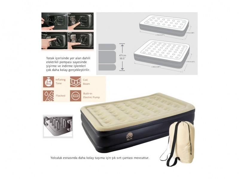 фото Надувная кровать с электрическим насосом Jilong Relax High Raised Luxe Air Bed Twin