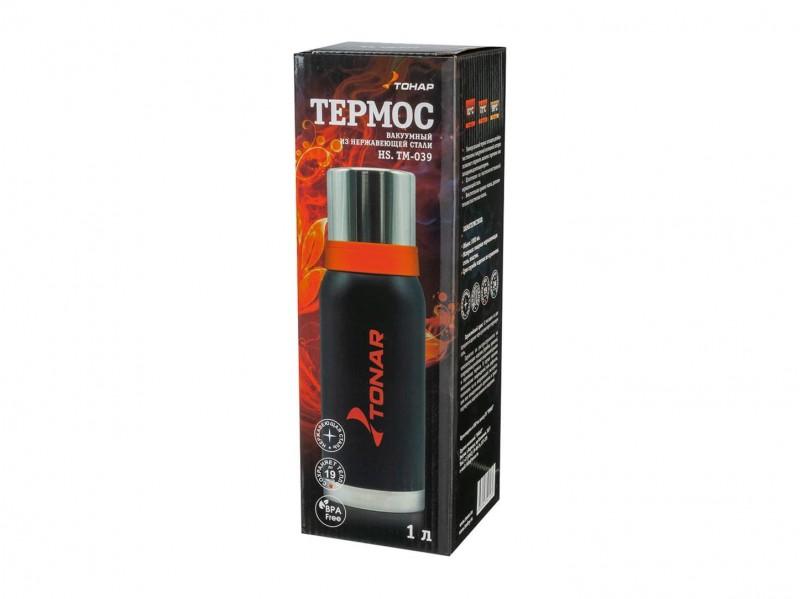фото Термос 1000мл Тонар HS.TM-039 черный с 2 крышками-кружками