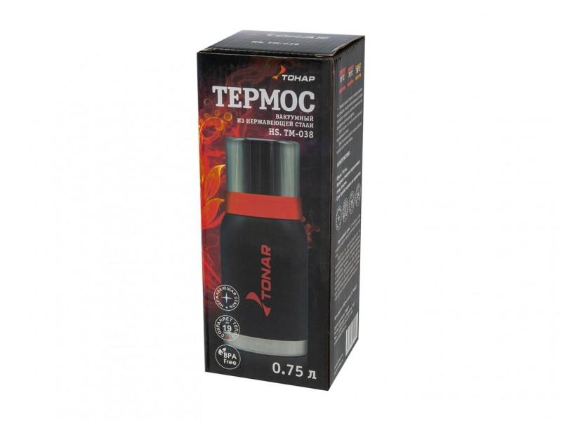 фото Термос 750мл Тонар HS.TM-038 черный с 2 крышками-кружками
